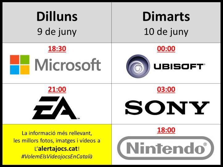 Horaris conferències E3 2014
