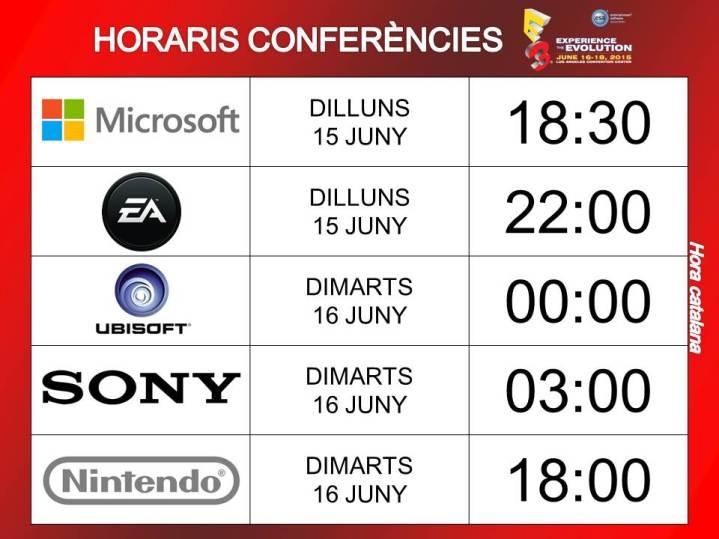 horaris conferències e3 2015